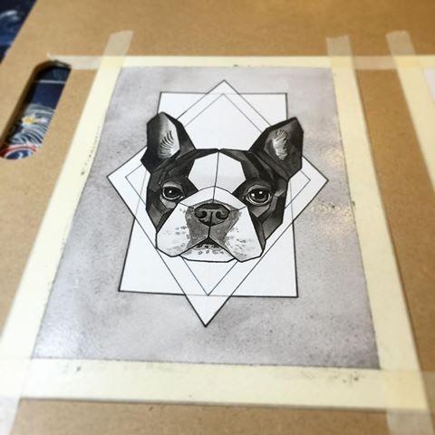 Black-and-white bulldog on white geometric background tattoo design