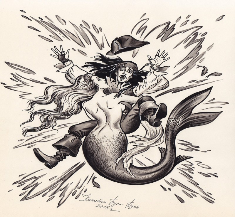 Black-and-white captain Jack Sparrow and mermaid tattoo design by Bormoglot