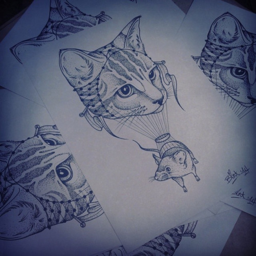Black and white cat flying on cat balloon tattoo design for White cat tattoo floresta