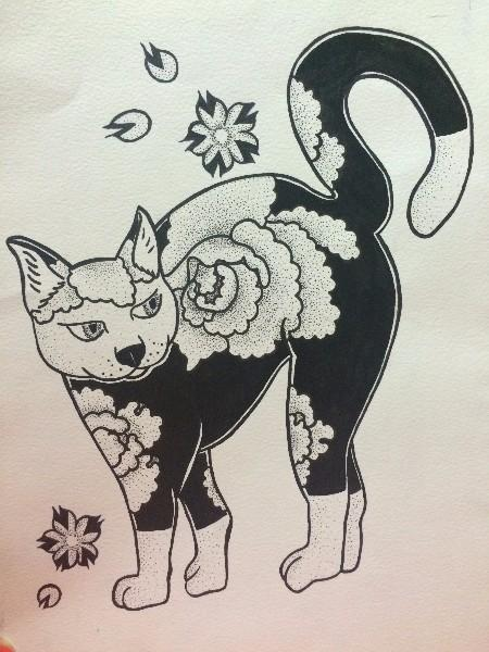 Black-and-white cat with japanese peony pattern tattoo design