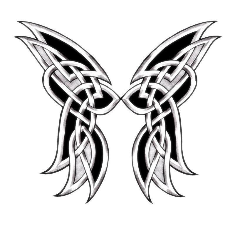 Black And White Celtic Butterfly Tattoo Design Tattooimagesbiz