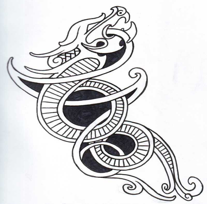 Black-and-white celtic viking dragon tattoo design