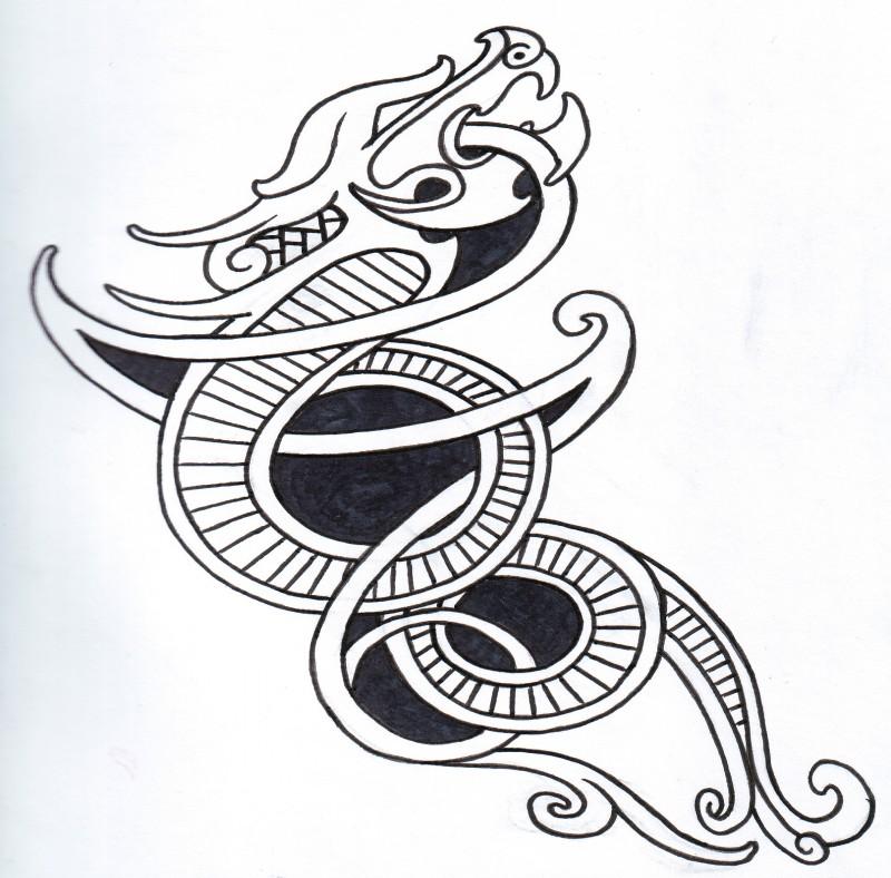 Black-and-white celtic viking dragon tattoo design