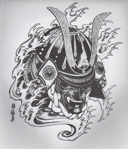 Black-and-white chinese demon samurai in water waves tattoo design