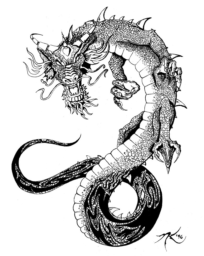 blackandwhite chinese dragon tattoo design