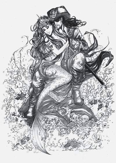 Black-and-white crowned mermaid flirting with Jack Sparrow tattoo design