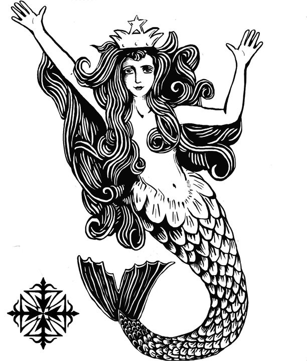Black-and-white crowned mermaid tattoo design by Heretic Templar