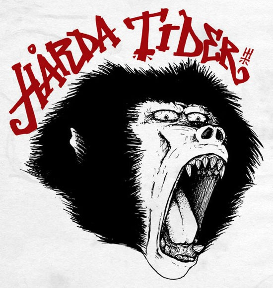Black-and-white crying baboon head with red lettering tattoo design
