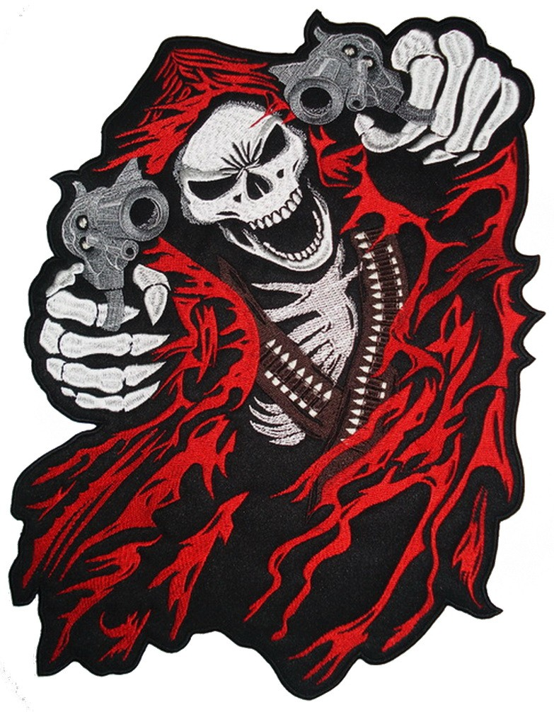 Black-and-white crying death with guns in red mantle tattoo design