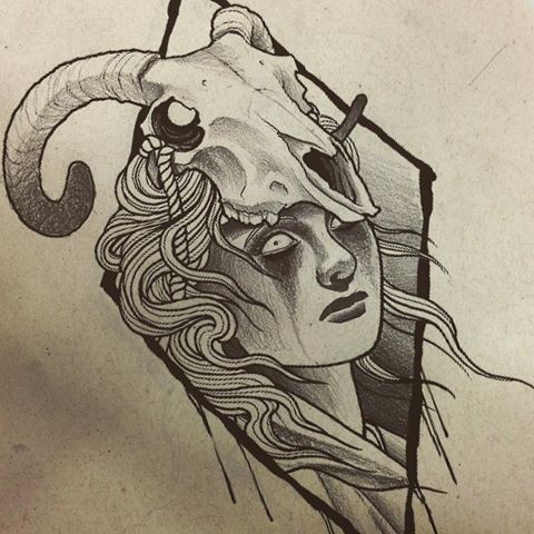 Black-and-white crying girl and ram skull in rhombus frame tattoo design