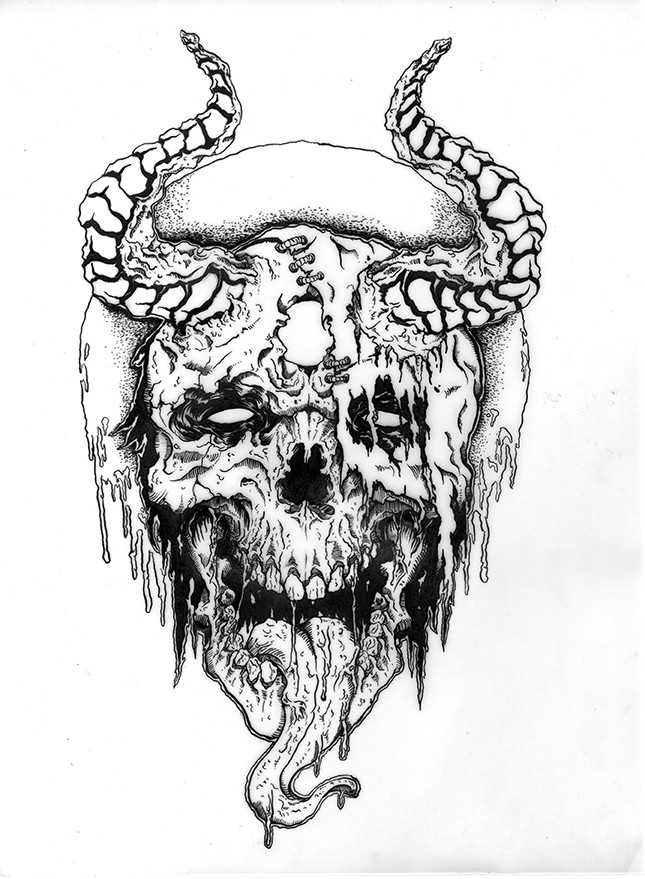 black and white dead horned demon face tattoo design. Black Bedroom Furniture Sets. Home Design Ideas