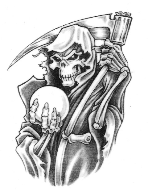 Black-and-white death keeping a magik ball tattoo design