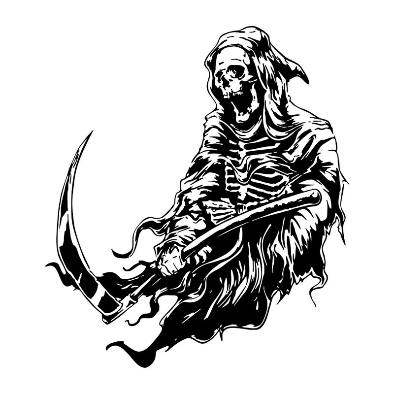 Black-and-white death waving with his scythe tattoo design