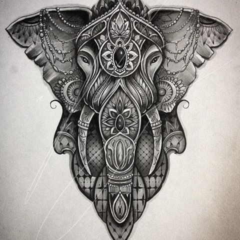 black and white decorated elephant tattoo design. Black Bedroom Furniture Sets. Home Design Ideas