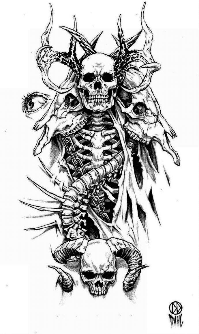 black and white demon skeleton with animal skulls tattoo design by daniel dahl. Black Bedroom Furniture Sets. Home Design Ideas