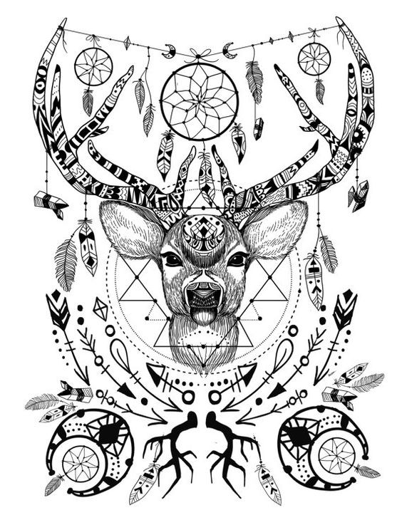 Black and white detailed deer with a lot of ornaments for Coloring pages with lots of detail