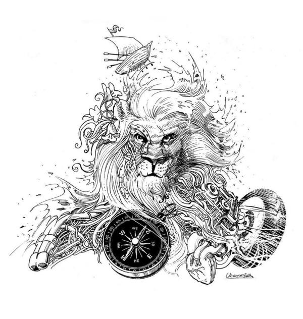 Black-and-white Detailed Lion With Scar Tattoo Design