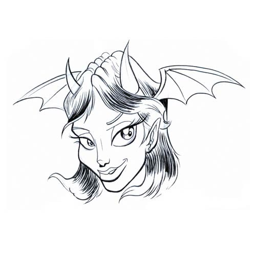 Black-and-white devil girl with bat wings tattoo design