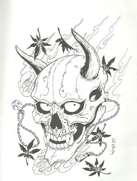 Black-and-white devil head with falling maple leaves tattoo design