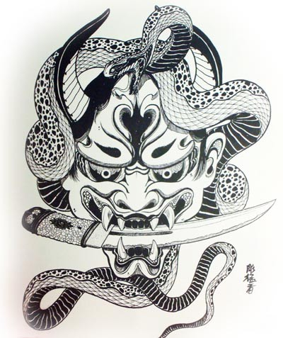 Black-and-white devil with a dagger in teeth and curly snake tattoo design