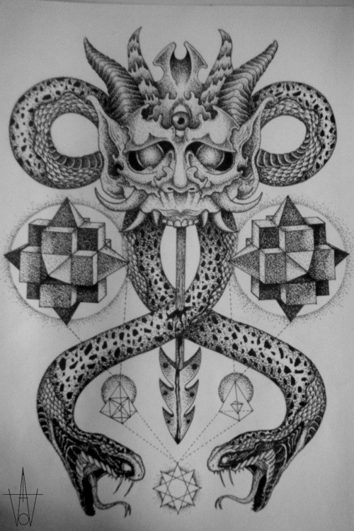 Geometric Snake Tattoo Design: Black-and-white Devil With Geometric Elements And