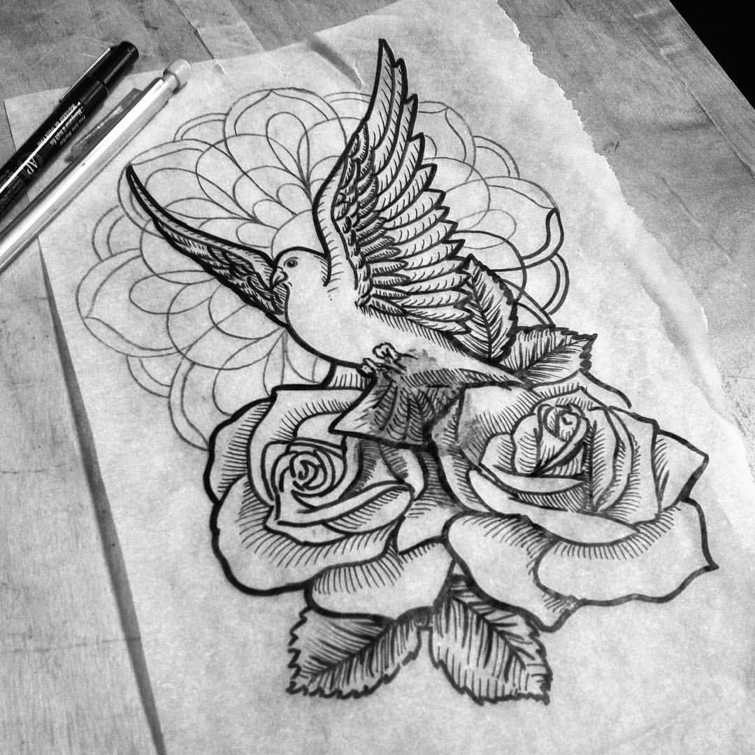 Black and white Dove With Rose Buds And Mandala Flower Tattoo Design Tattooimagesbiz