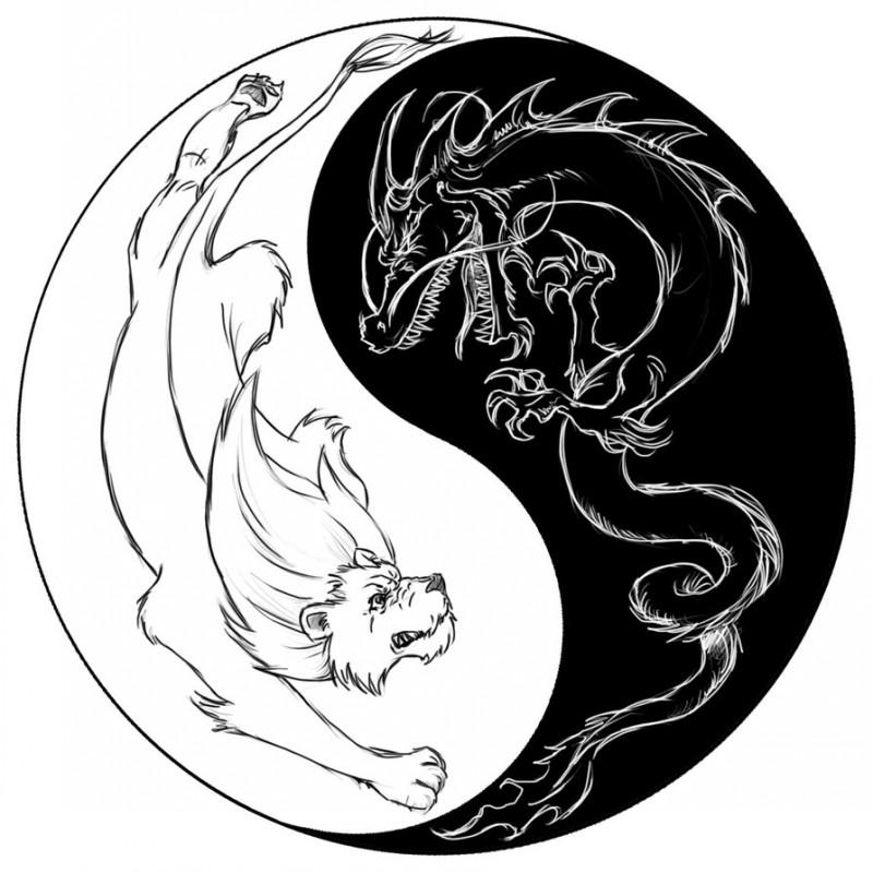 Black-and-white dragon and bear yin yang tattoo design