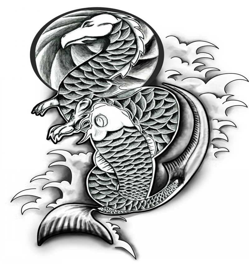 Black and white dragon and koi fish tattoo design by dan for Black dragon koi