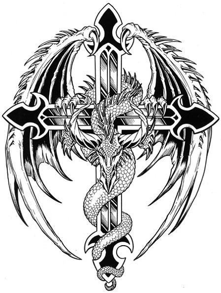 Black-and-white dragon and large cross tattoo design