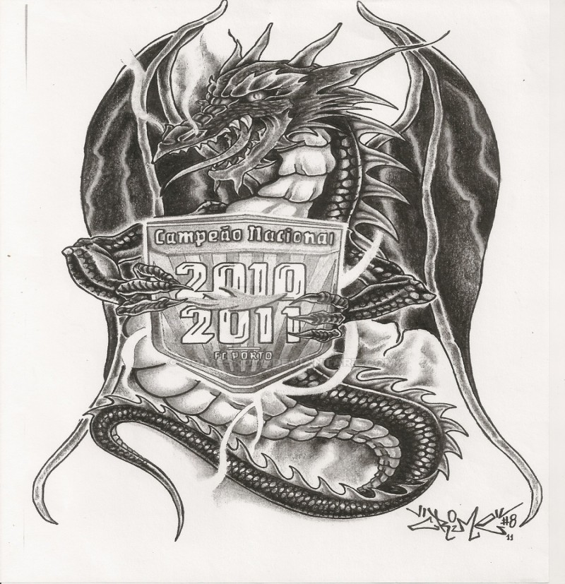 Black-and-white dragon keeping quoted coat of arms tattoo design by Crimeskull