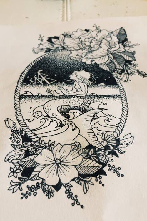 Black-and-white dreaming mermaid in frame with peony flowers tattoo design