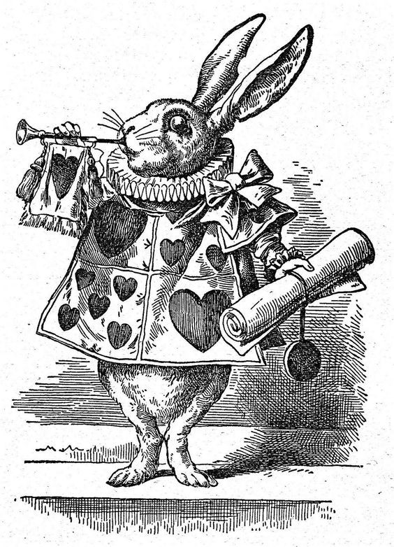 Black-and-white dressed march hare with paper scroll tattoo design