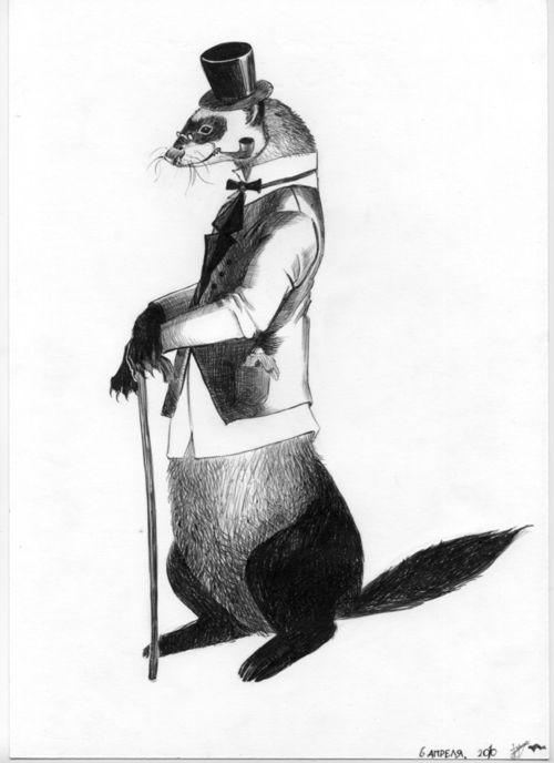 Black-and-white dressed standing mr rodent in hat with stick tattoo design