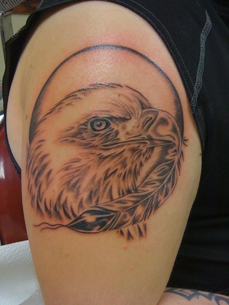 Eagle feather arm tattoo - photo#22