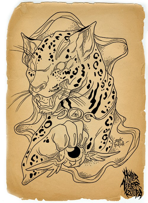 Black-and-white egyptian jaguar playing with winged flying eye tattoo design