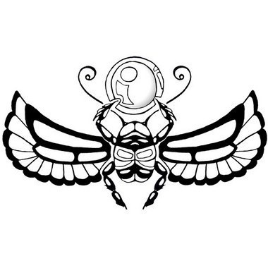 Black-and-white egyptian winged scarab bug tattoo design