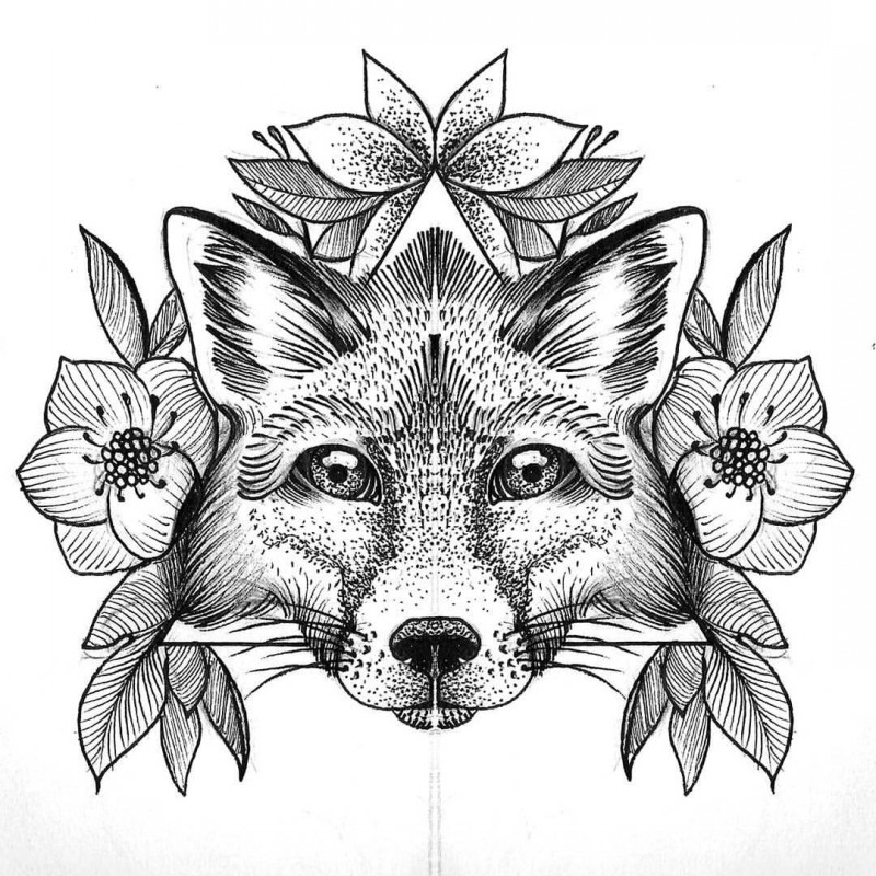 Black-and-white fox muzzle surrounded with flowers tattoo design