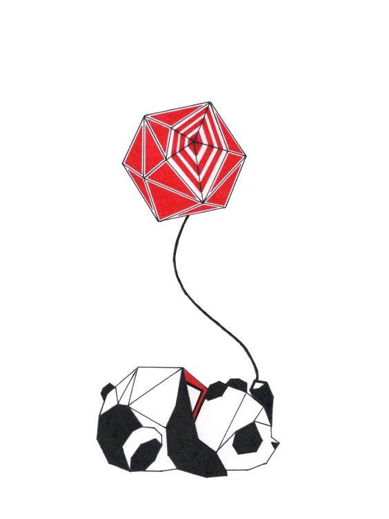 Black-and-white geometric panda keeping red balloon tattoo design