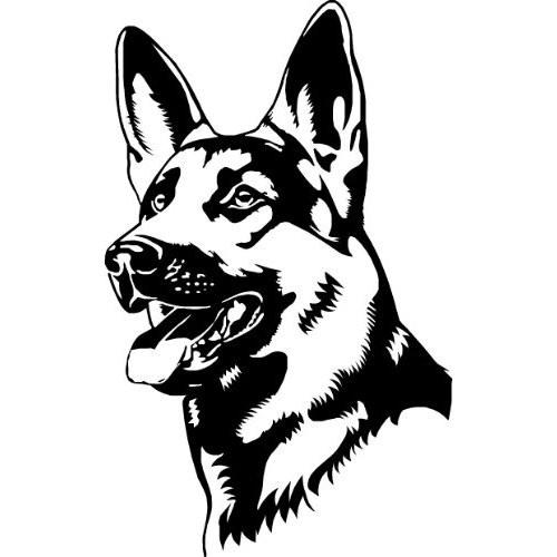 black and white german shepherd waiting for command tattoo