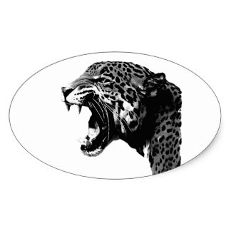 Black and white gnarling jaguar head in oval frame tattoo design