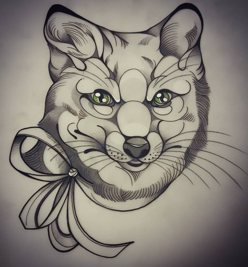 Black-and-white green-eyed fox head with bow collar tattoo design