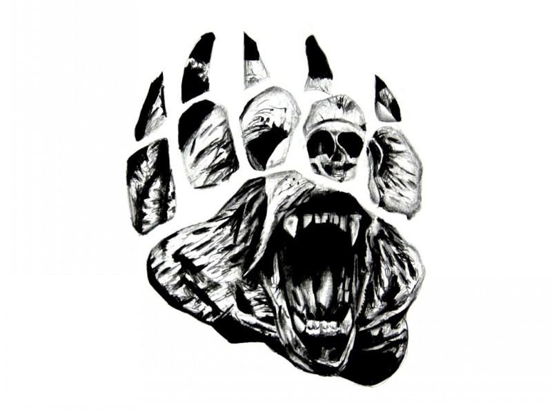 Black-and-white grizzly face on bear paw print tattoo design