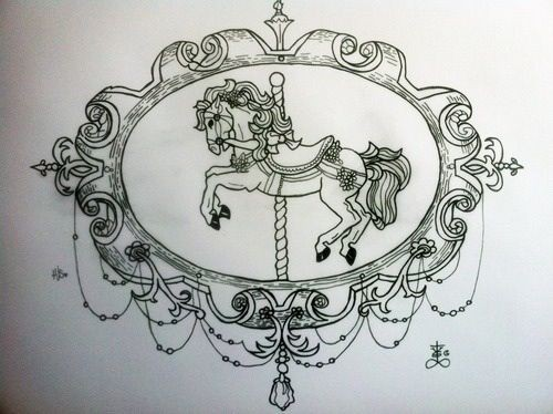 black and white horse carousel in gorgeous laced frame tattoo design. Black Bedroom Furniture Sets. Home Design Ideas