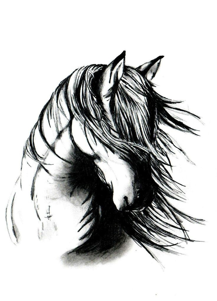 Black-and-white horse with fluttering mane tattoo design