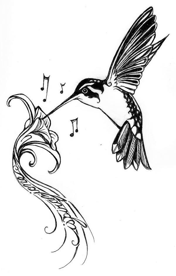 black and white hummingbird and musical hibiscus flower tattoo design. Black Bedroom Furniture Sets. Home Design Ideas