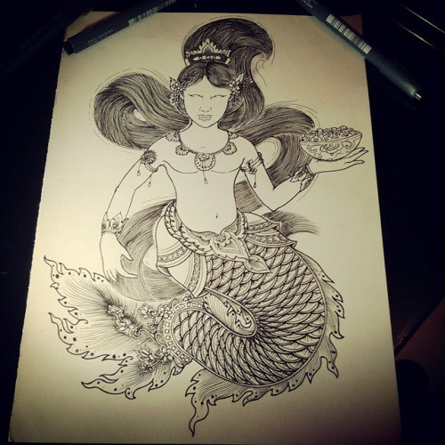 Black-and-white indian-style mermaid with dish in a hand tattoo design