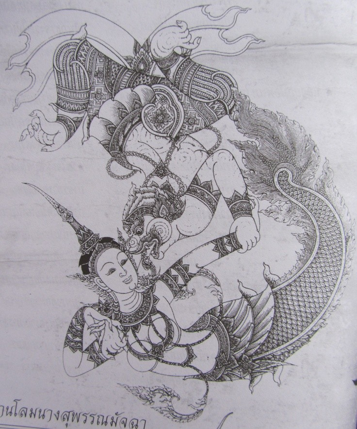 Black-and-white indian mythic mermaid fighting with monster tattoo design