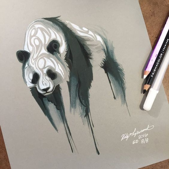 Black-and-white ink panda bear in smudges tattoo design