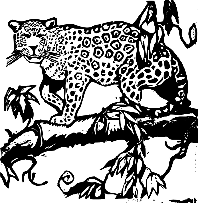 Black-and-white jaguar walking on thick tree branch tattoo design