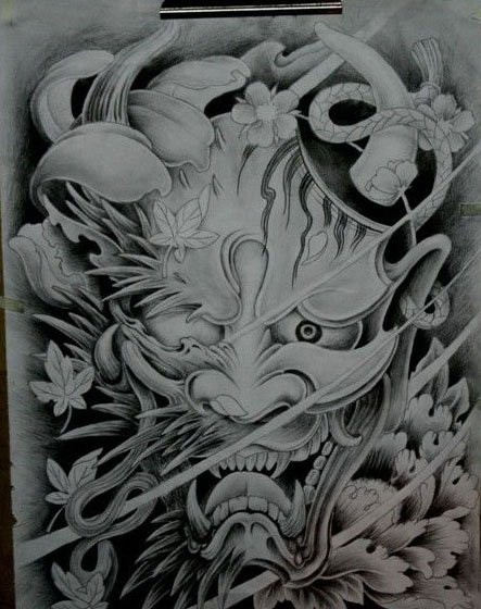 Black-and-white japanese-style devil with blind eye tattoo design